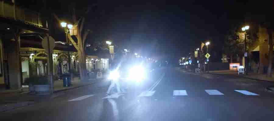A Pedestrian in Headlights